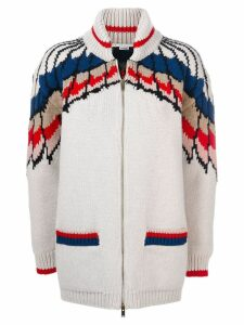 Stella McCartney Feather Print zipper cardigan - White