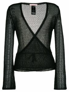Kristina Ti open knit wrap cardigan - Black