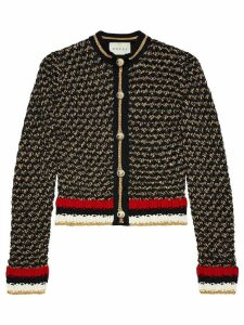 Gucci Lurex blend cardigan with Web - Black