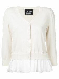 Boutique Moschino frill trim cardigan - Neutrals