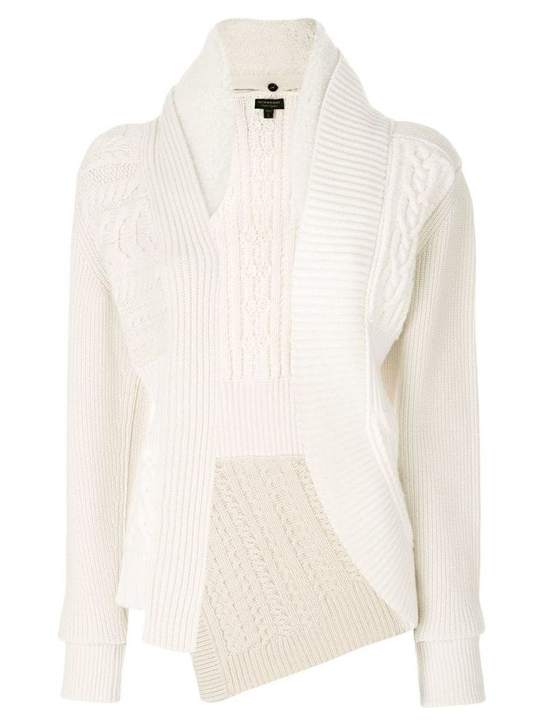 Burberry cable knitted jacket - White