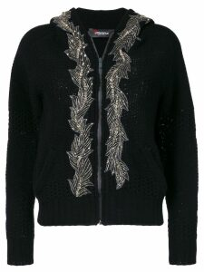 Jo No Fui embellished hooded cardigan - Black