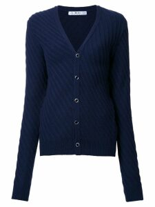 Julien David v-neck side striped cardigan - Blue