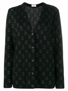 Saint Laurent dollar print oversize cardigan - Black