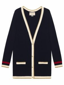 Gucci embroidered oversized knitted cardigan - Blue
