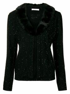Blumarine fur collar cardigan - Black
