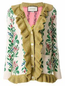 Gucci Intarsia Jacquard flowers cardigan - Neutrals