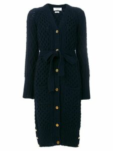 Thom Browne Long Cable Knit V-neck Cardigan Coat - Blue