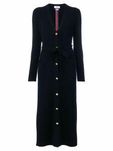 Thom Browne Half-and-half Rib Knit Striped Long Cardigan - Blue