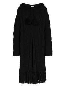 Saint Laurent cable knit cardigan coat - Black