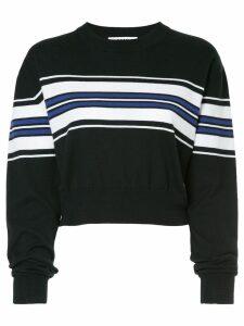 MSGM cropped stripe panel sweater - Black