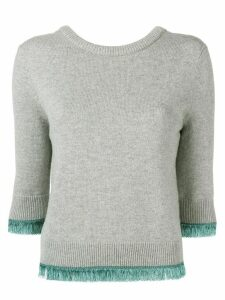 Chloé cropped contrast trim sweater - Grey