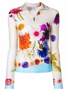 Natasha Zinko longsleeved floral zip top - Neutrals