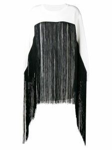 Mm6 Maison Margiela fringed long-line sweater - White