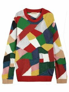 Burberry Patchwork Cashmere Wool Blend Sweater - Red