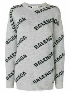 Balenciaga Jacquard Logo crew neck sweater - Grey