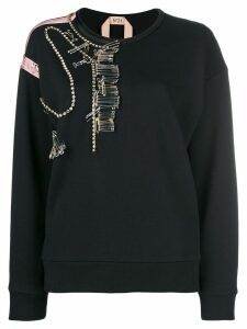 Nº21 pin-embellished cotton jersey sweatshirt - Black