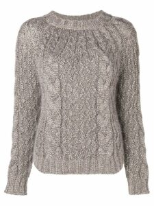 Saint Laurent aran cable knit jumper - NEUTRALS