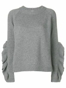 Red Valentino ruffle sleeve sweater - Grey