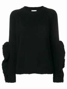 Red Valentino ruffle sleeve sweater - Black