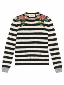 Gucci Embroidered merino cashmere knit top - Black