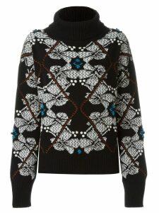 Barrie cashmere floral intarsia jumper - Black