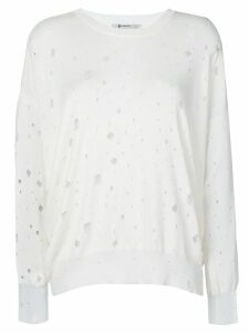 T By Alexander Wang oversized hole detail sweater - White