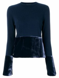 Cashmere In Love cashmere jumper with velvet panels - Blue