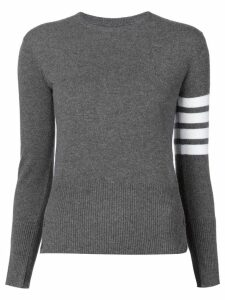 Thom Browne Crewneck Pullover With White 4-Bar Stripe In Grey Cashmere