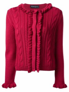 Rossella Jardini ruffle-trim cable knit jumper - Red