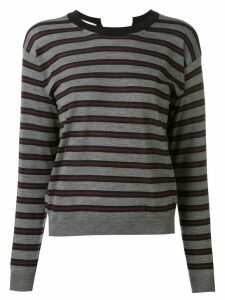 Marni striped open back jumper - Grey