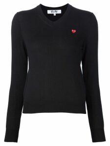 Comme Des Garçons Play mini heart v-neck jumper - Black