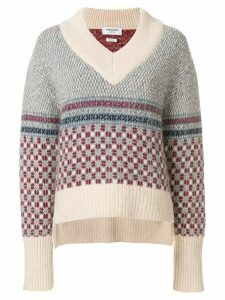 Thom Browne Crab Toy Icon Tweed V-neck Pullover - Neutrals