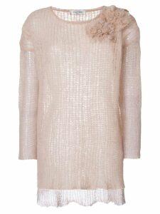 Valentino floral appliqué knit jumper - Neutrals