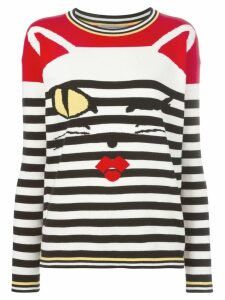 Ermanno Scervino cat intarsia striped jumper - Black