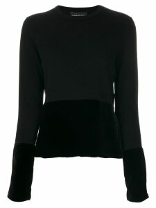 Cashmere In Love cashmere velvet panel jumper - Black