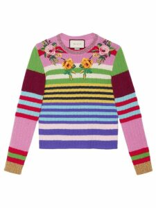 Gucci embroidered multicolour knit top