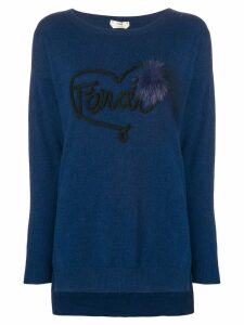 Fendi logo applique jumper - Blue
