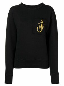 JW Anderson washed black raw-edge logo sweatshirt with pocket detail