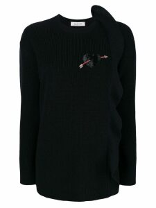 Valentino cashmere ruffle detail sweater - Black