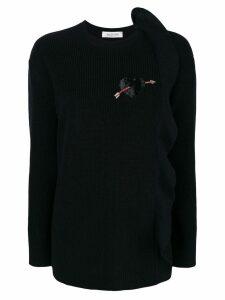 Valentino cashmere ruffle detail sweater - Black