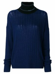 Prada logo turtleneck jumper - Blue