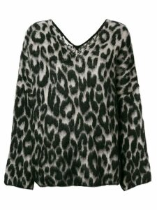 Stella McCartney textured leopard print sweater - Black