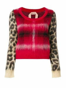 Nº21 checked leopard printed sweater - Red