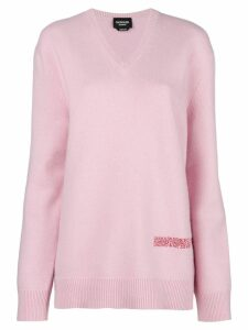 Calvin Klein 205W39nyc logo v-neck sweater - Pink