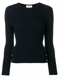 Thom Browne Striped Rib Stitch Merino Pullover - Blue