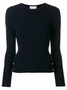 Thom Browne Striped Rib Stitch Merino Pullover - Blue