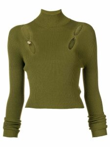 Versus cut out ribbed turtleneck sweater - Green