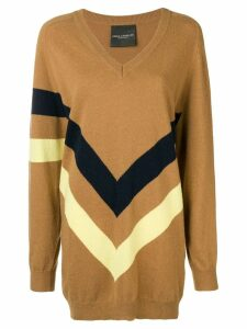 Erika Cavallini boxy striped print sweater - Brown