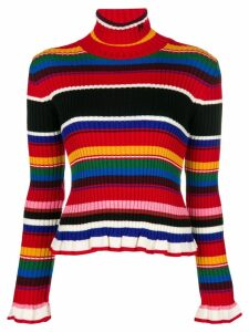 MSGM ruffled striped rollneck jumper - Red